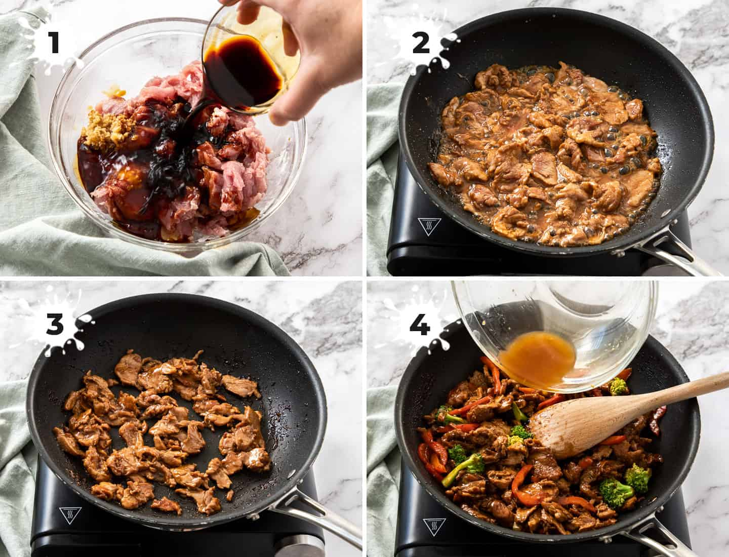 Images showing the cooking of pork stir fry in a black pan.