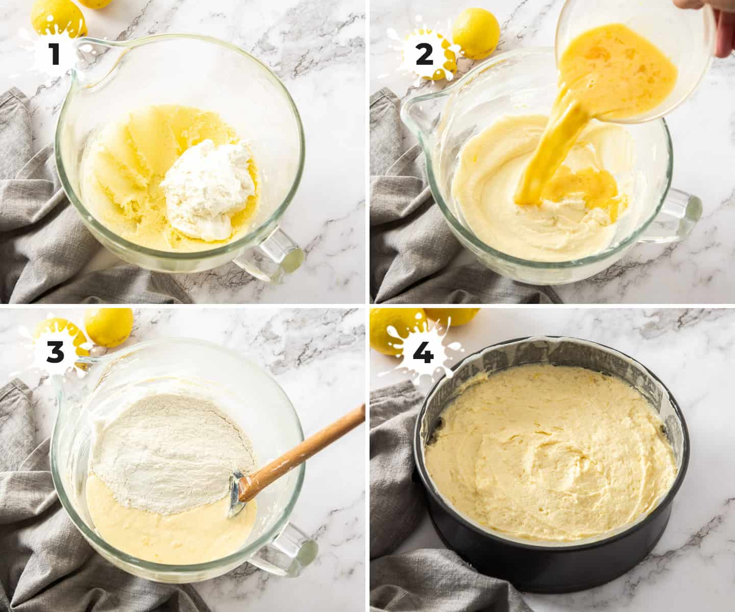 4 images in a collage showing how to make the batter for a lemon ricotta cake.