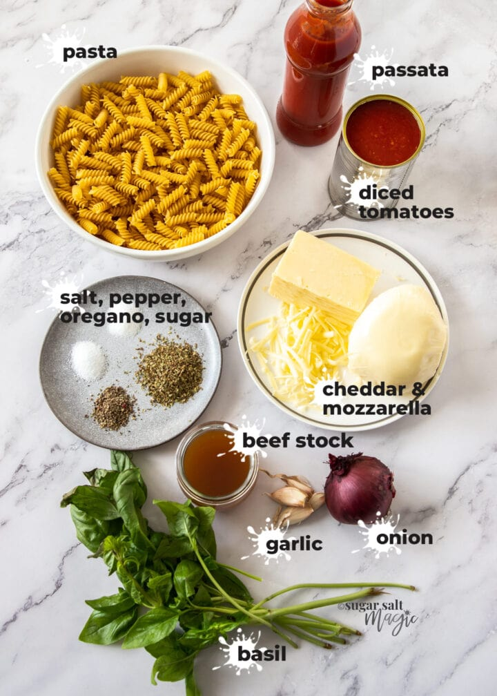 Ingredients for meatball pasta bake.
