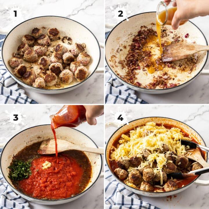 Steps showing how ot make meatball pasta bake.