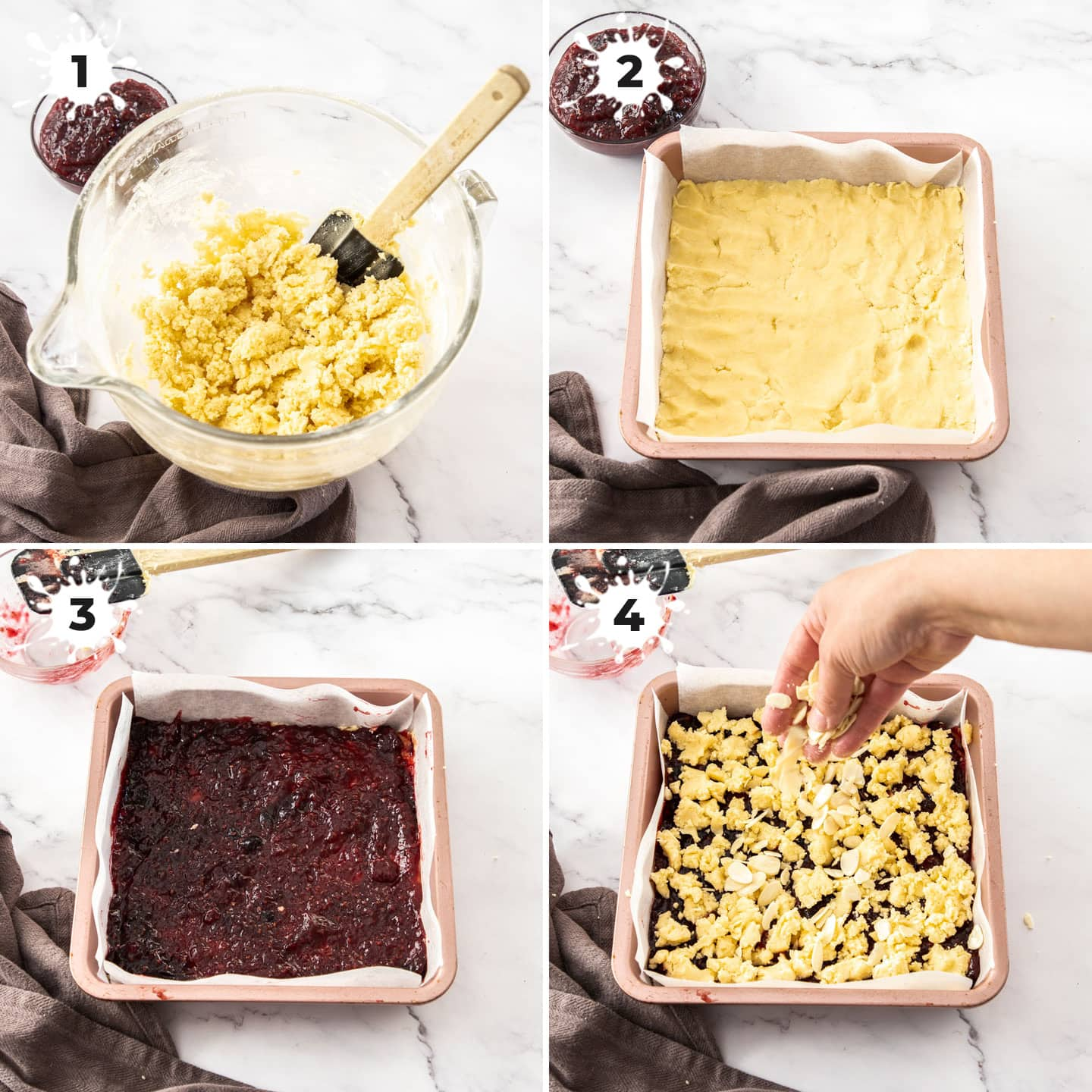 4 images showing how to make raspberry shortbread bars.