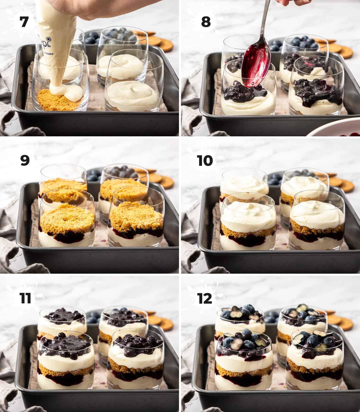6 images showing layers of cheesecake parfait being added to glasses.