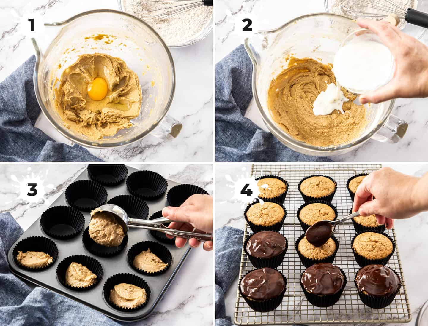 4 images showing the making of the batter for cinnamon cupcakes.