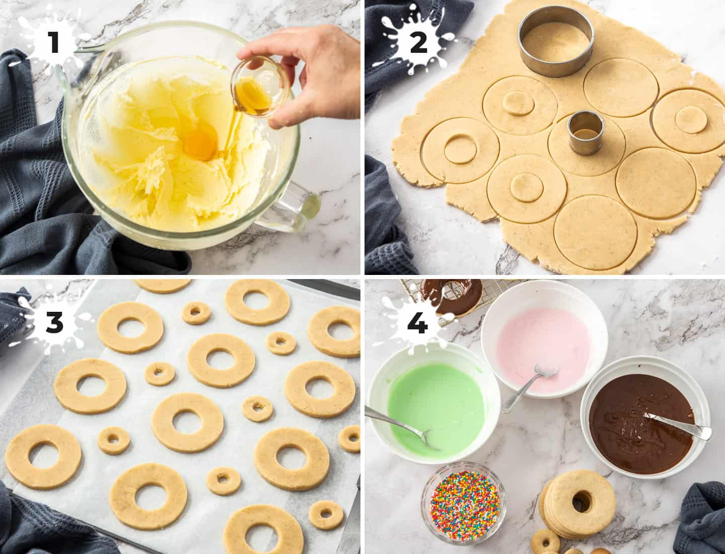 4 images showing the steps to making donut cookies.