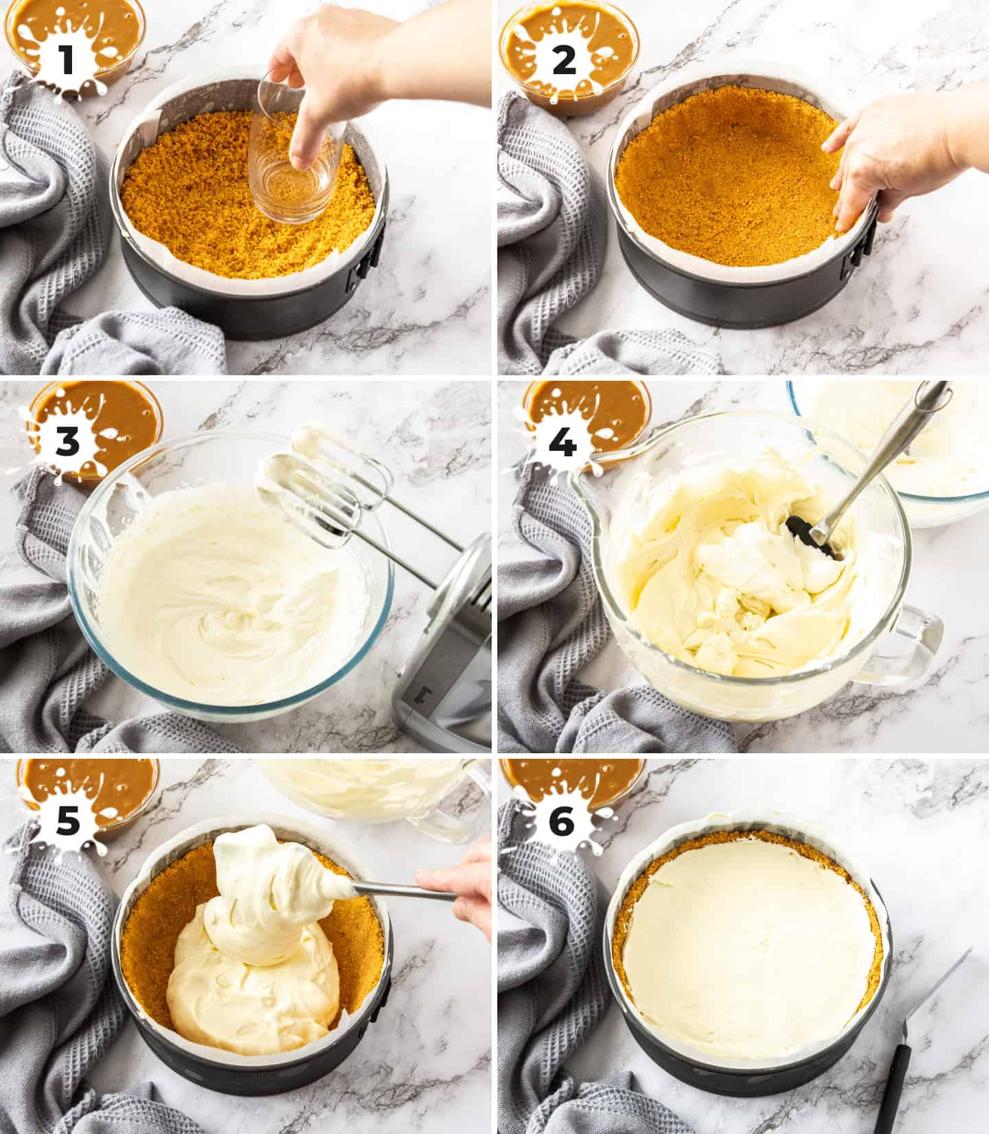 A collage of 6 images showing the steps to making the cheesecake.