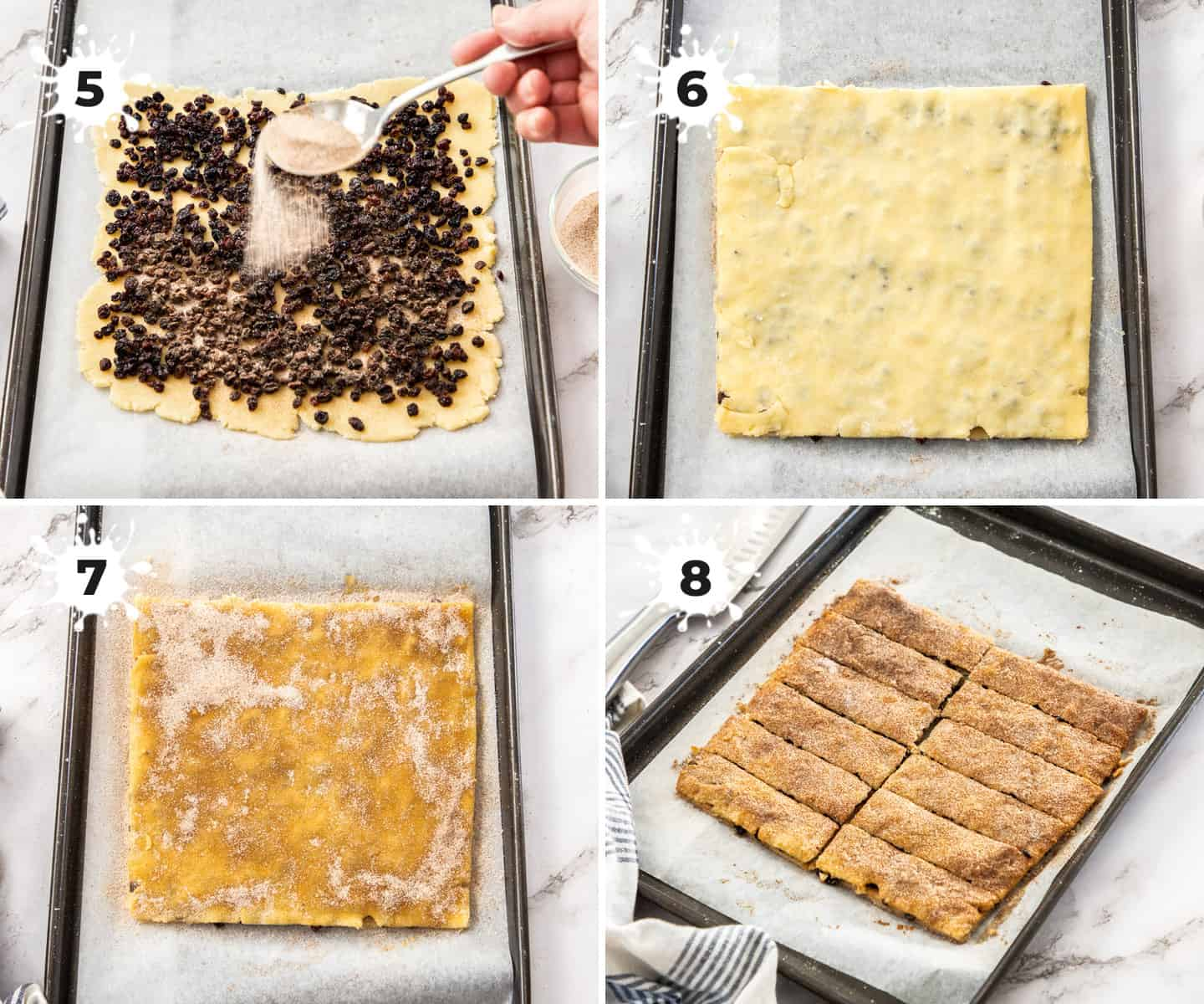 A 4 image collage showing steps of assembling ingredients for garibaldi biscuits.