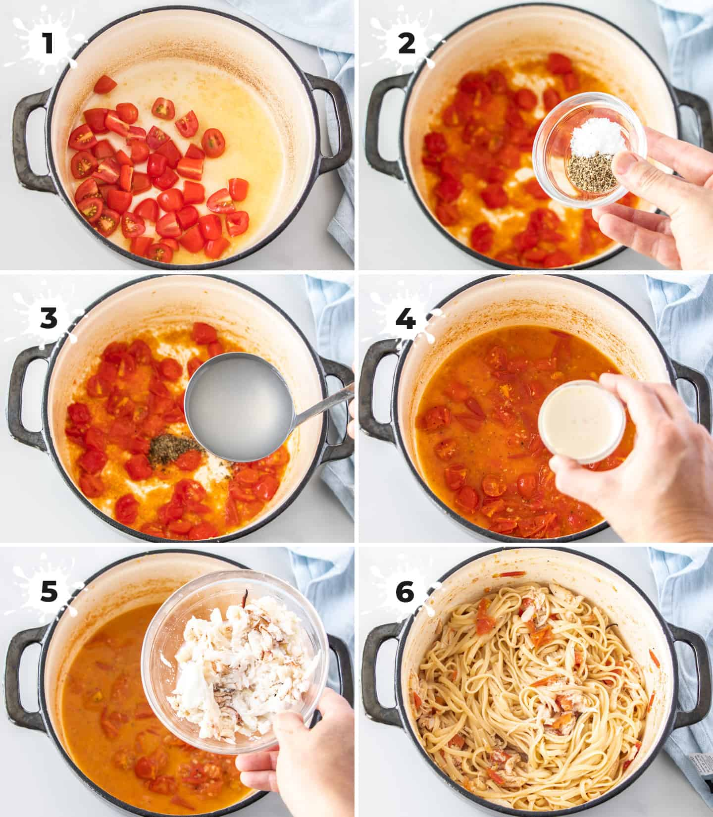 A collage of 6 images showing adding ingredients to a saucepan to make crab linguine.