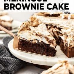 Closeup of a slice of chocolate meringue cake sitting on a cake slice.