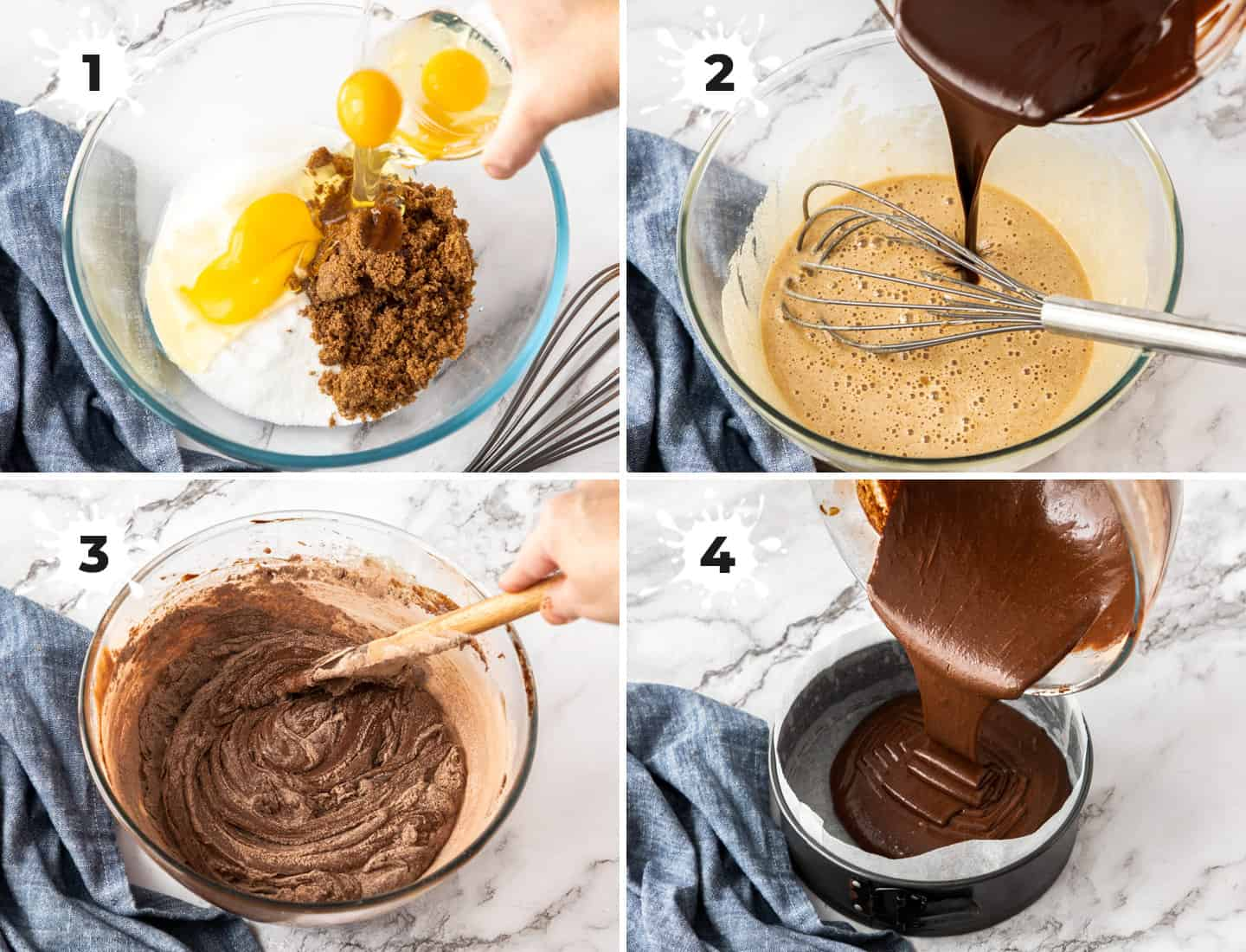 A collage of 4 images showing mixing the chocolate brownie batter in a glass bowl.