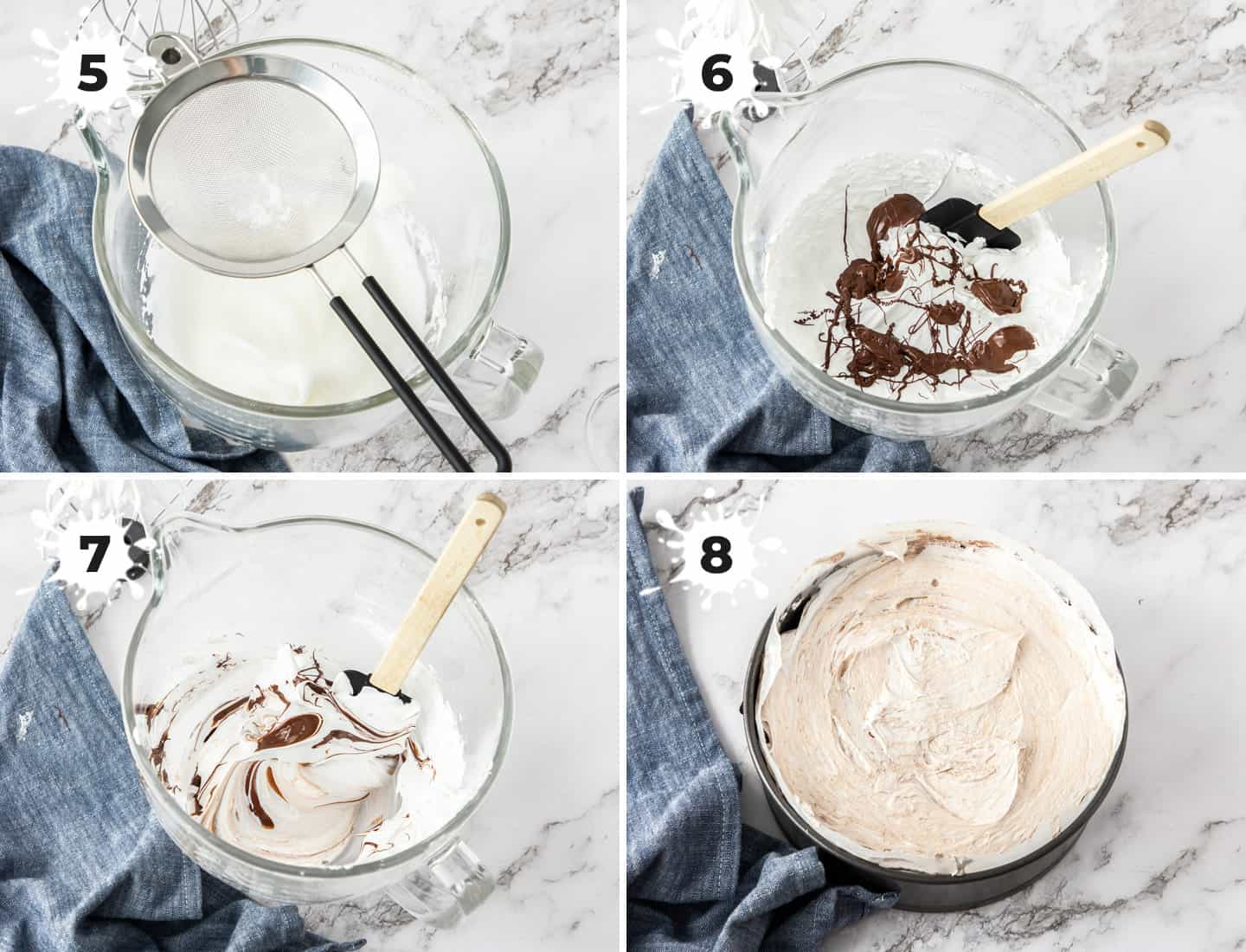 A collage of 4 images showing the making of chocolate swirled meringue.