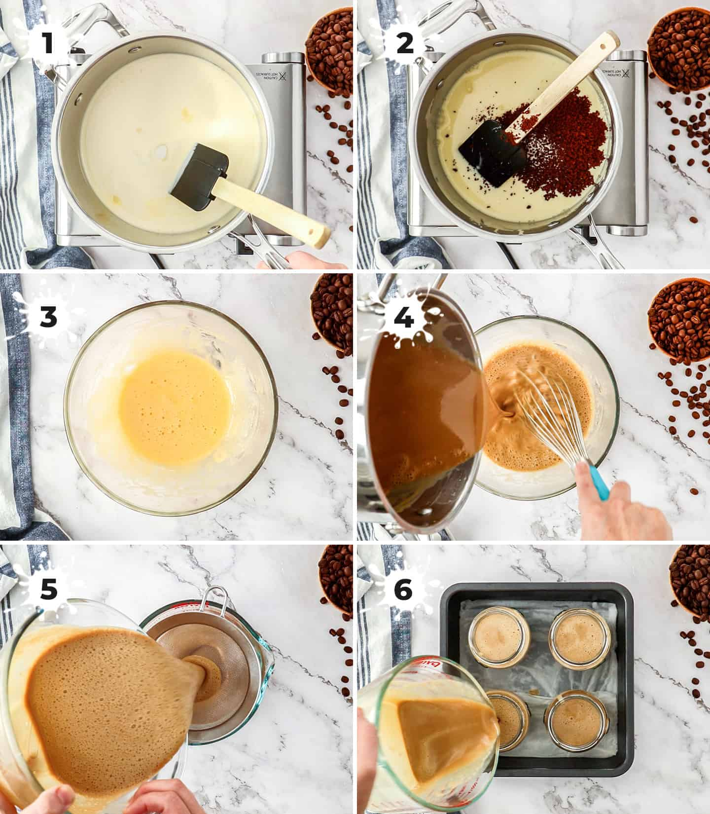A collage of 6 images showing how to make and assemble coffee creme brulee, ready for baking.