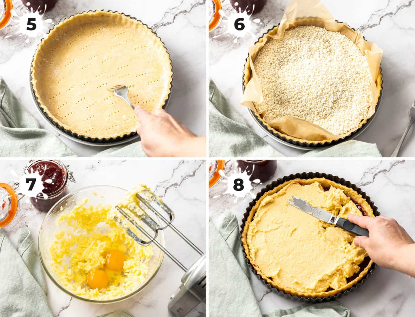A collage of 4 images showing how to assemble the bakewell tart.