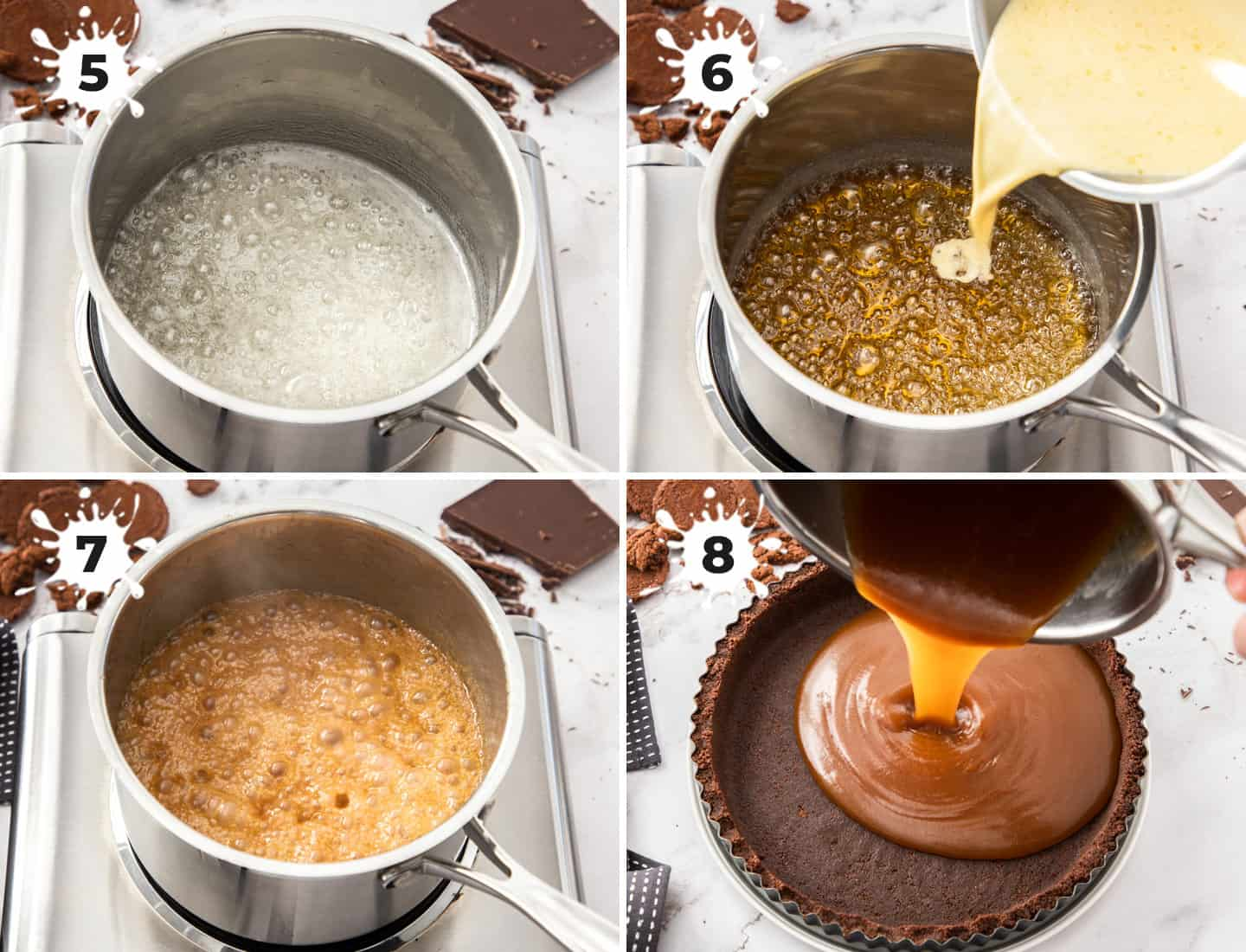 4 images showing how to make salted caramel from scratch.