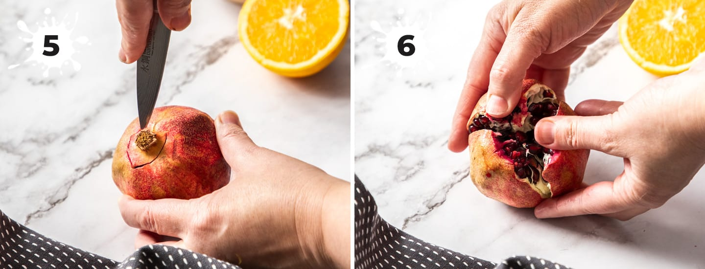 2 images showing how to open a pomegranate.