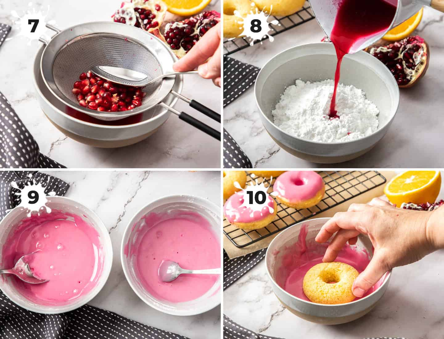 A collage of 4 images showing how to make pomegranate icing.