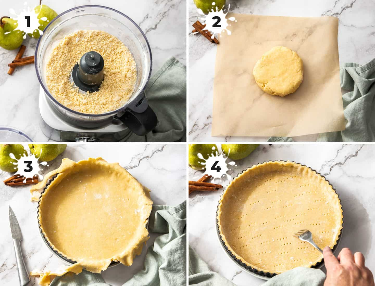 A collage of 4 images showing how to make the pastry crust.