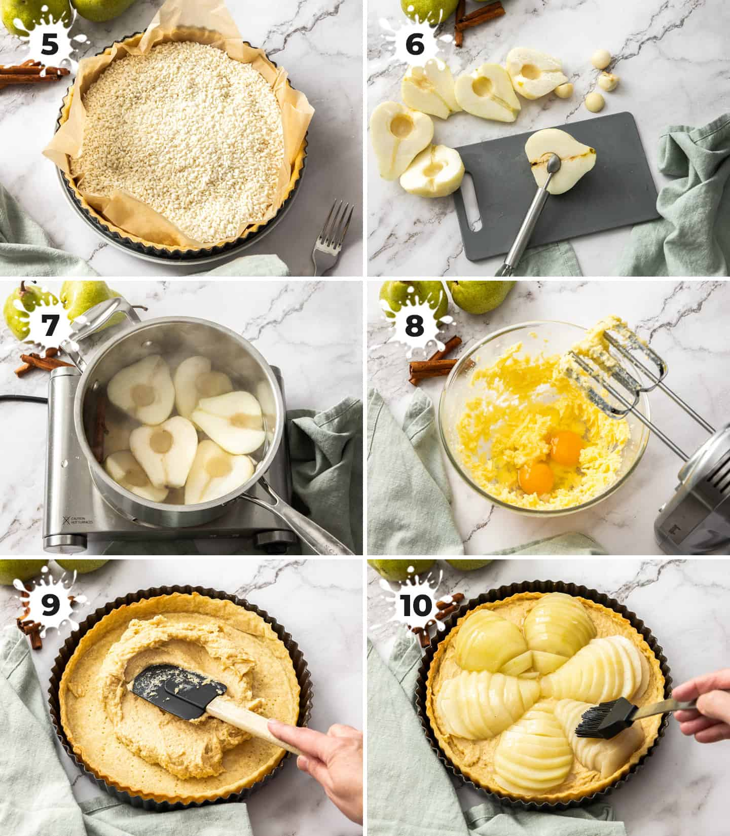 A collage of 6 images showing the steps to making the tart filling.