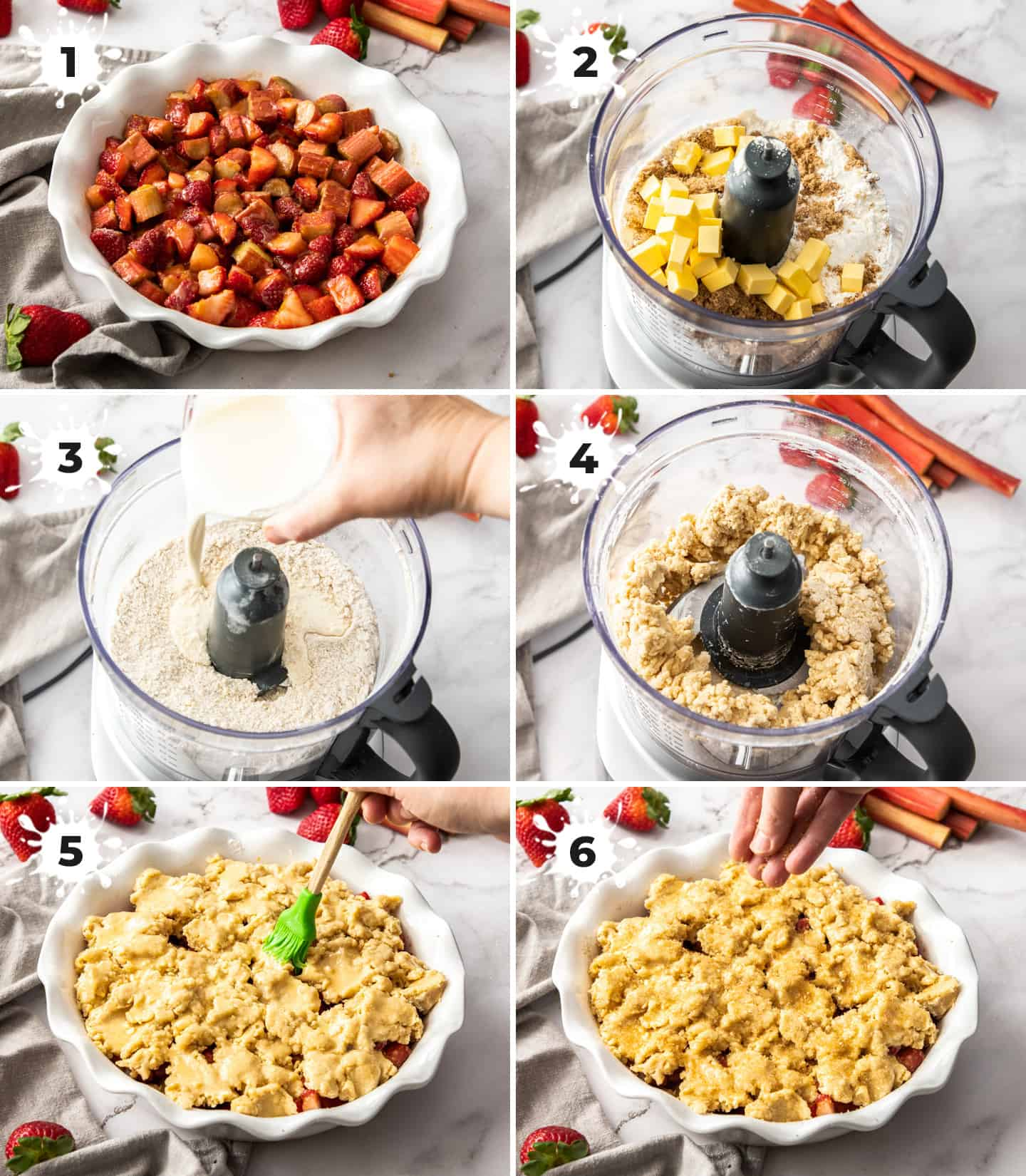 A collage of 6 images showing the steps to making the strawberry rhubarb cobbler.