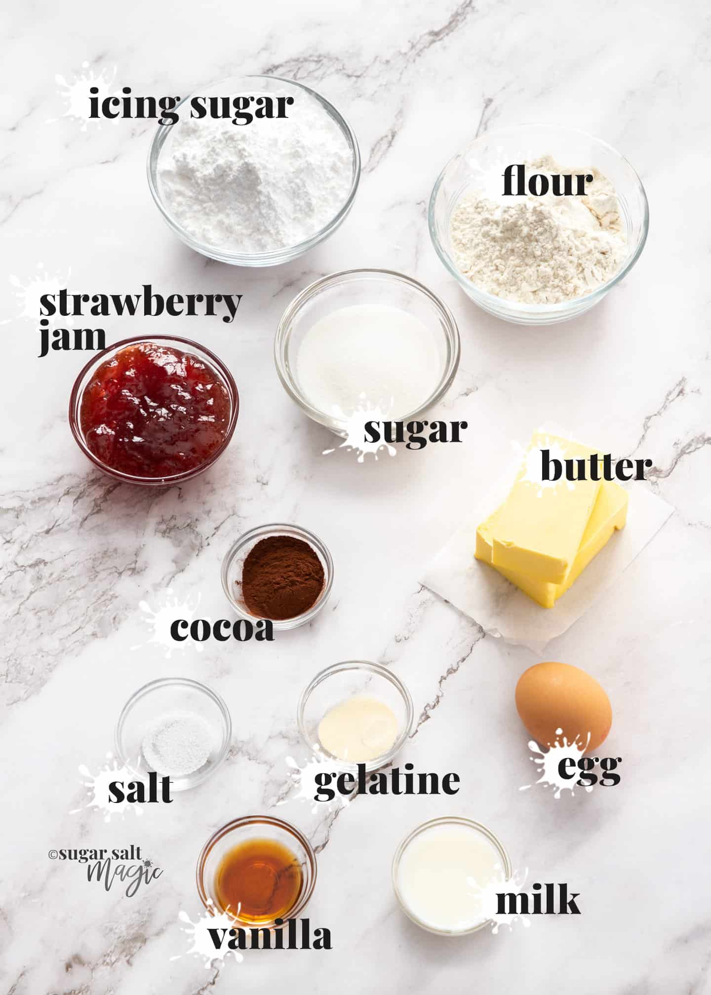 Ingredients for neenish tarts on a white marble bench top.