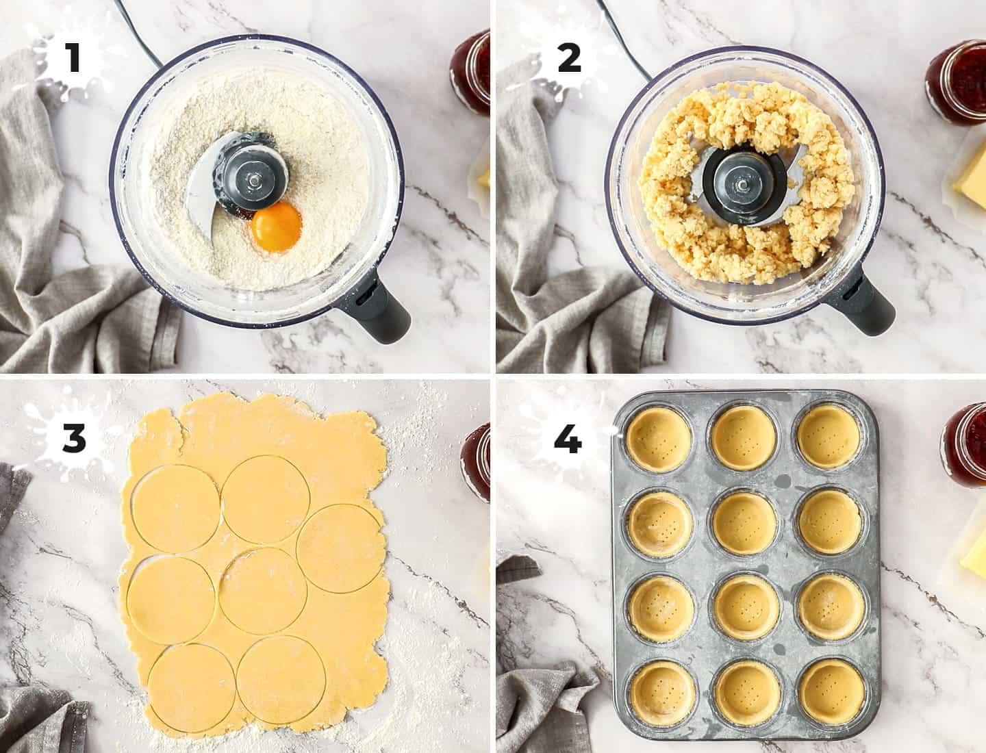A collage of 4 images showing how to make and roll the pastry for the tarts.