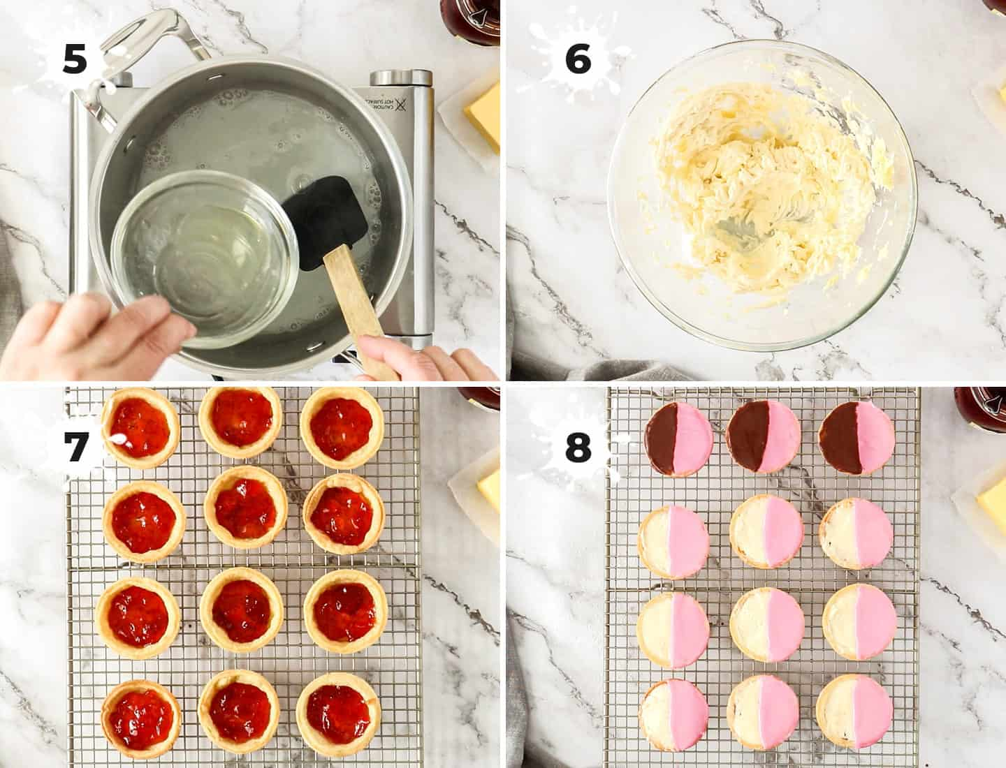 A collage of 4 images showing how to make the filling, then fill the neenish tarts.