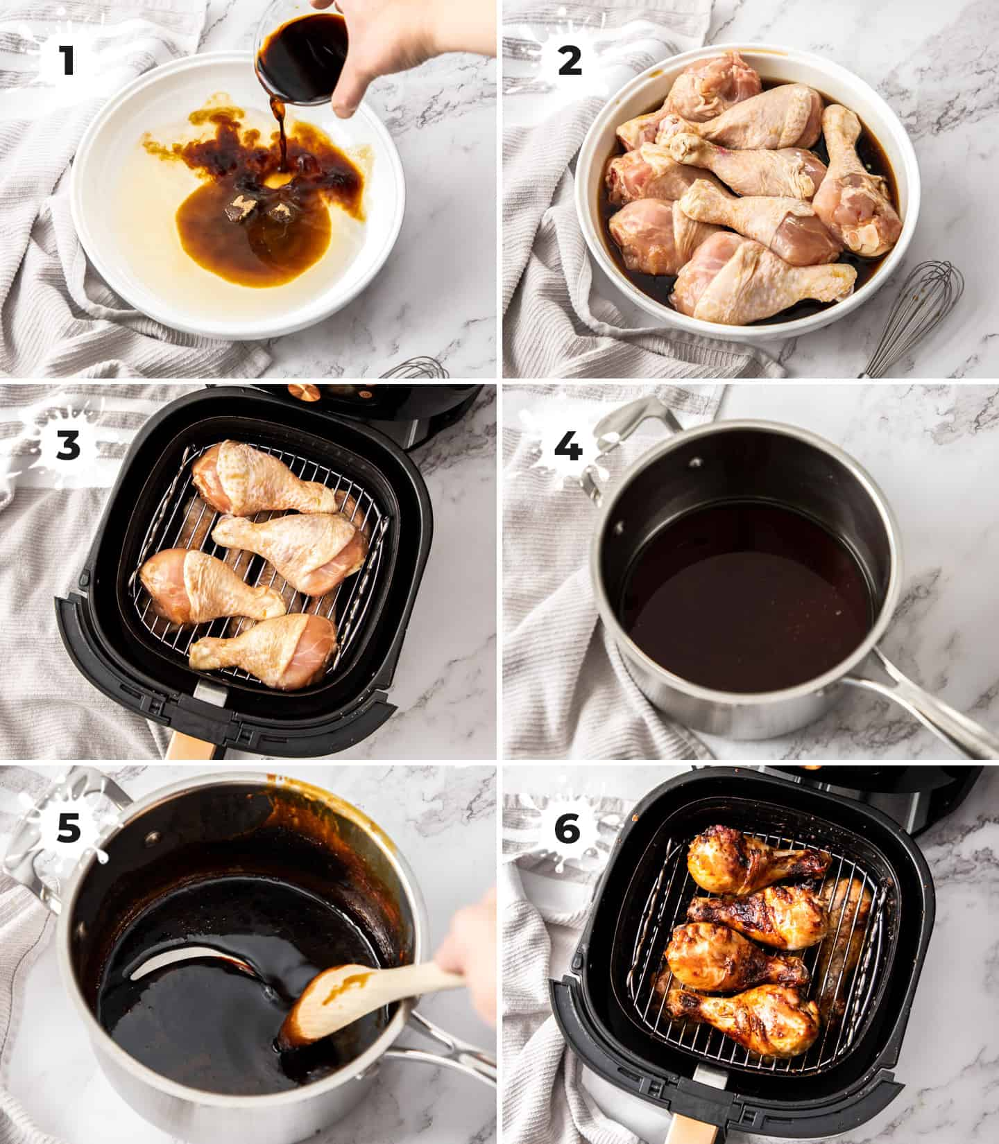 A collage of 6 images showing how to make teriyaki chicken drumsticks.