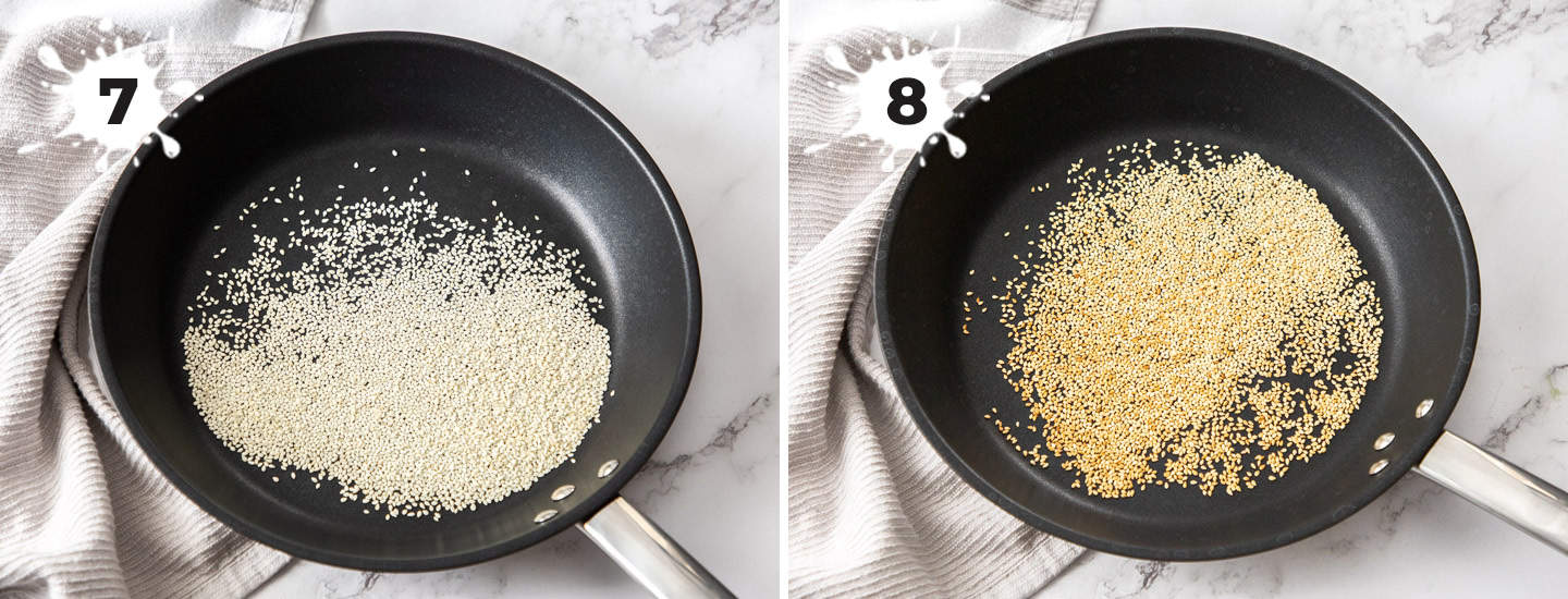 Sesame seeds being toasted in a frying pan.