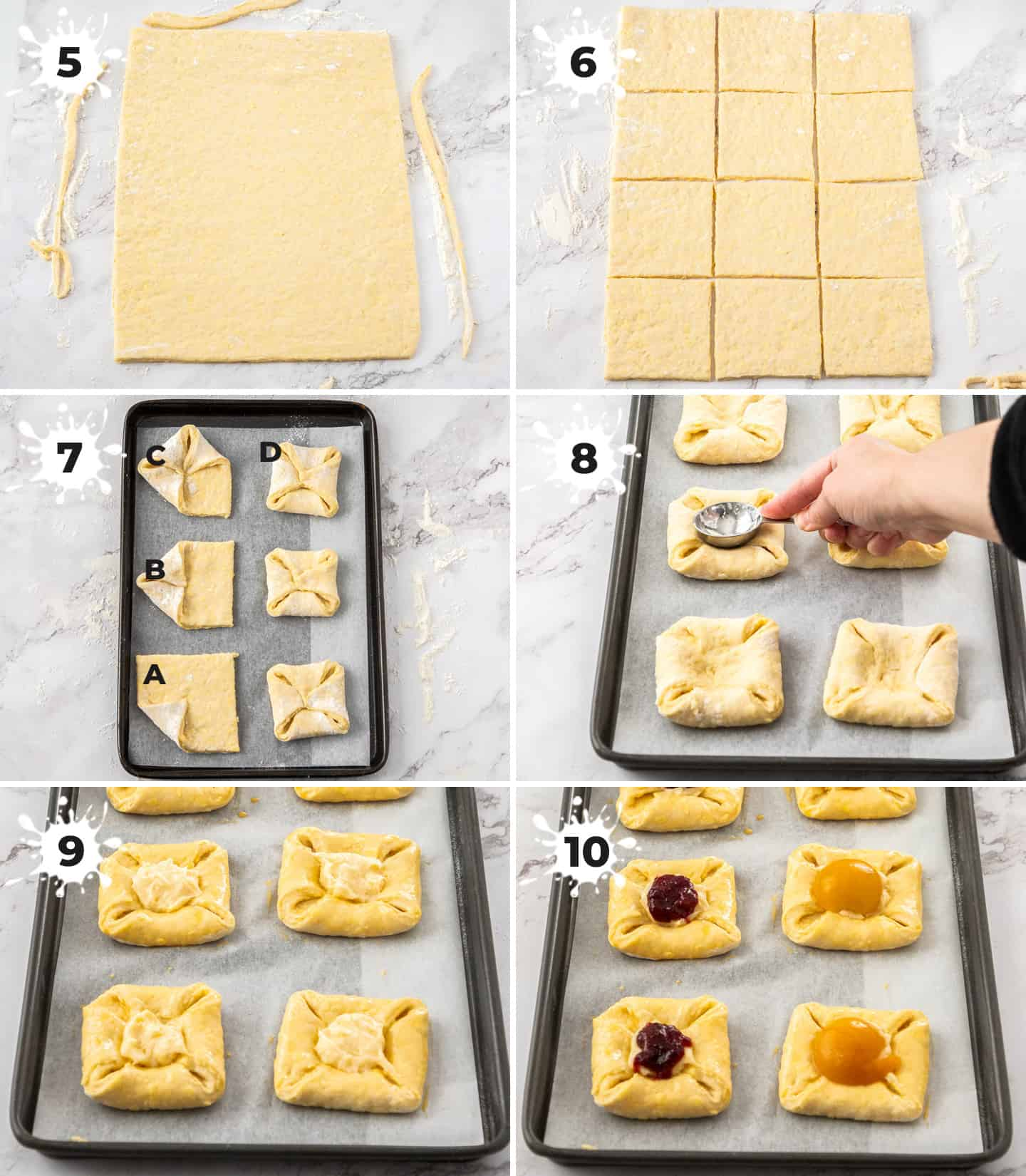A collage of 6 images showing how to assemble custard danish.