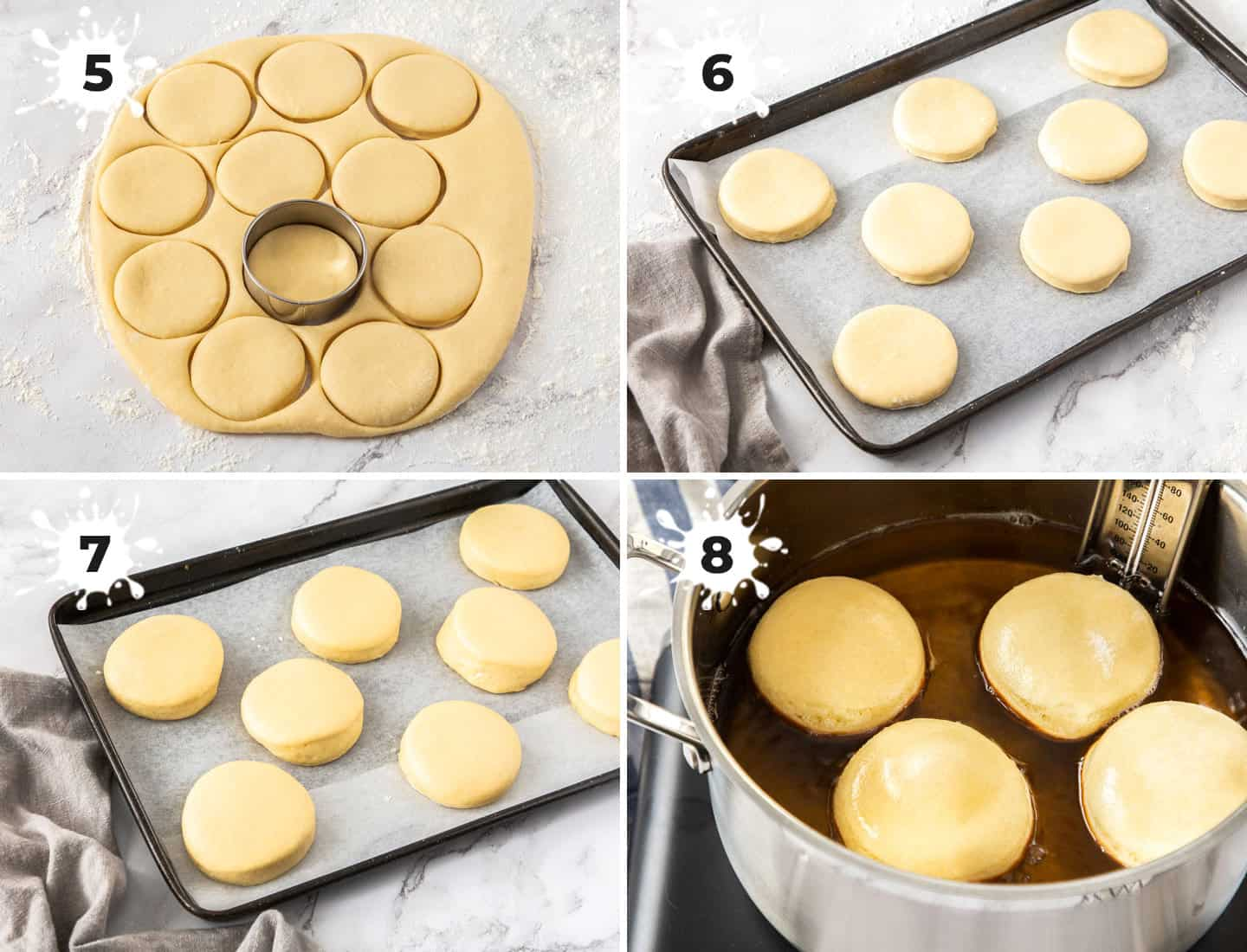 A collage of 4 images showing how to make and fry doughnuts.