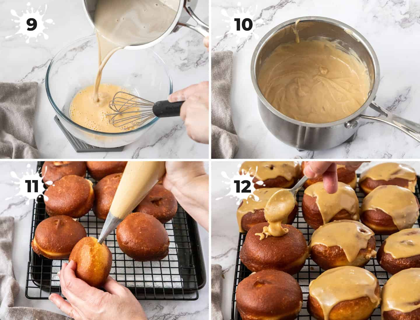 A collage of 4 images showing how to make brown sugar custard.