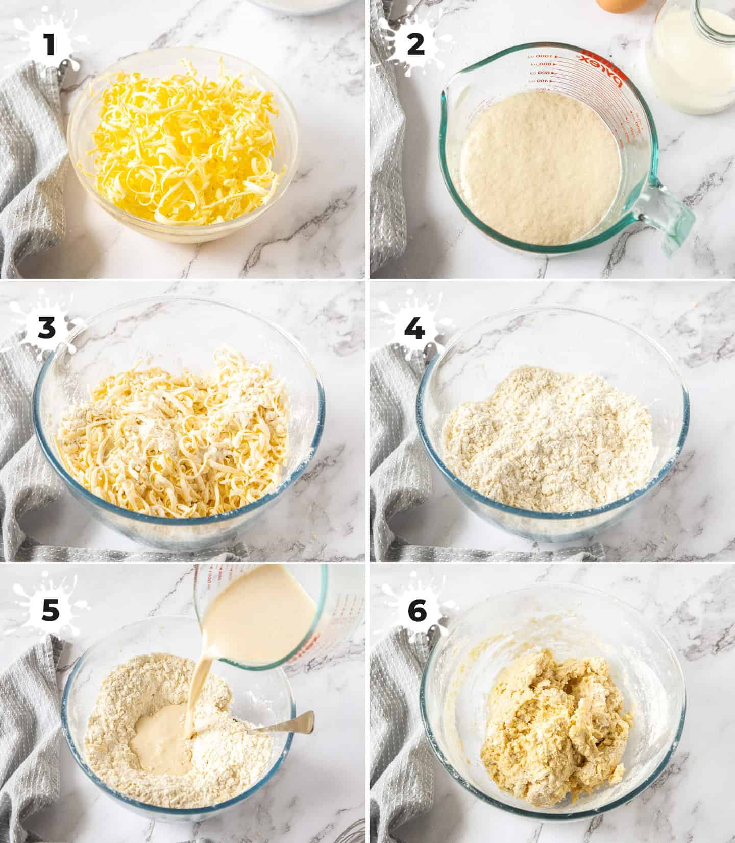 A collage of 6 images showing how to make the dough.
