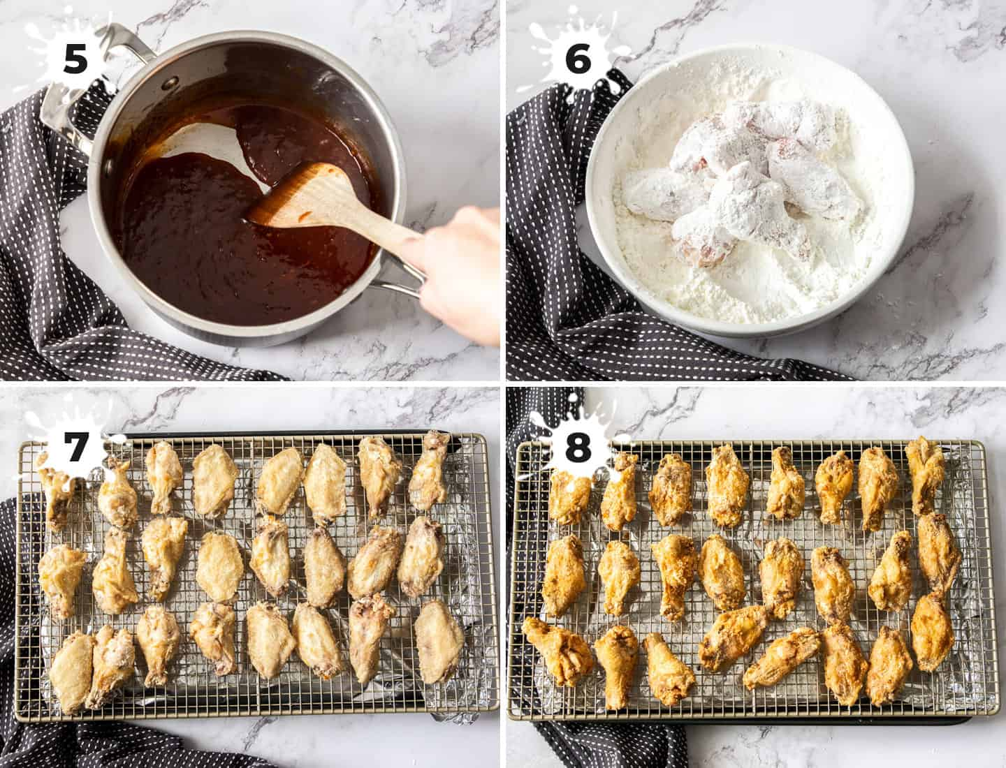 A collage of 4 images showing how to coat and fry chicken wings.