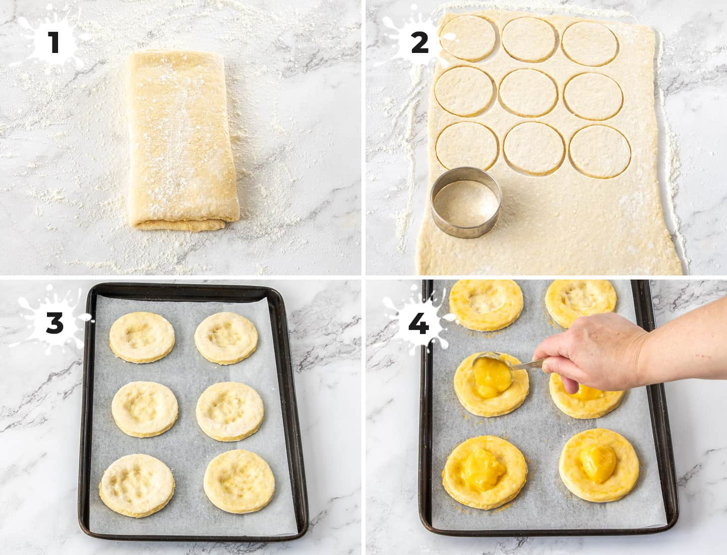 A collage of 4 images showing how to assemble the lemon pastries.