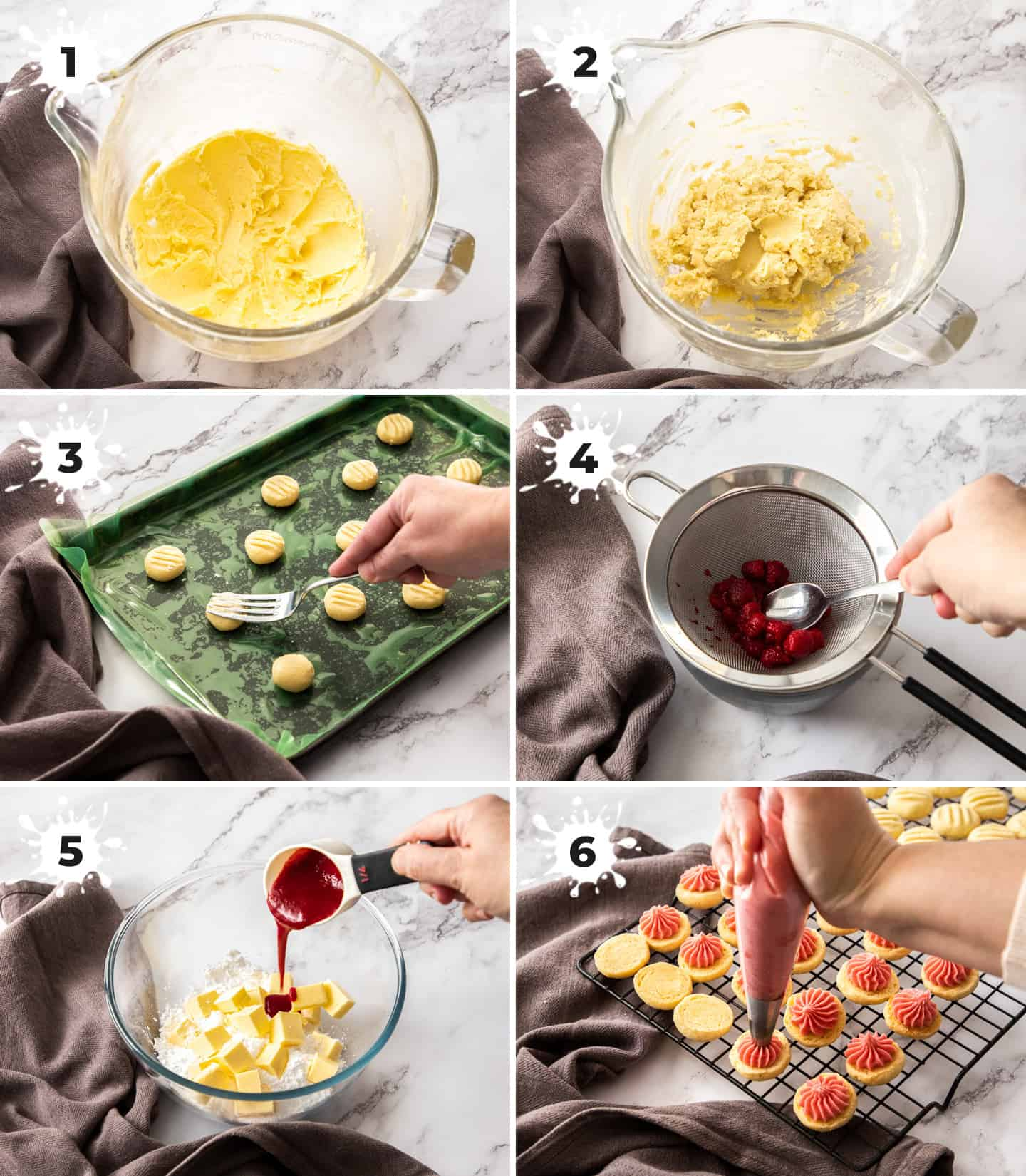 A collage of 6 images showing the steps to making the cookies and buttercream.