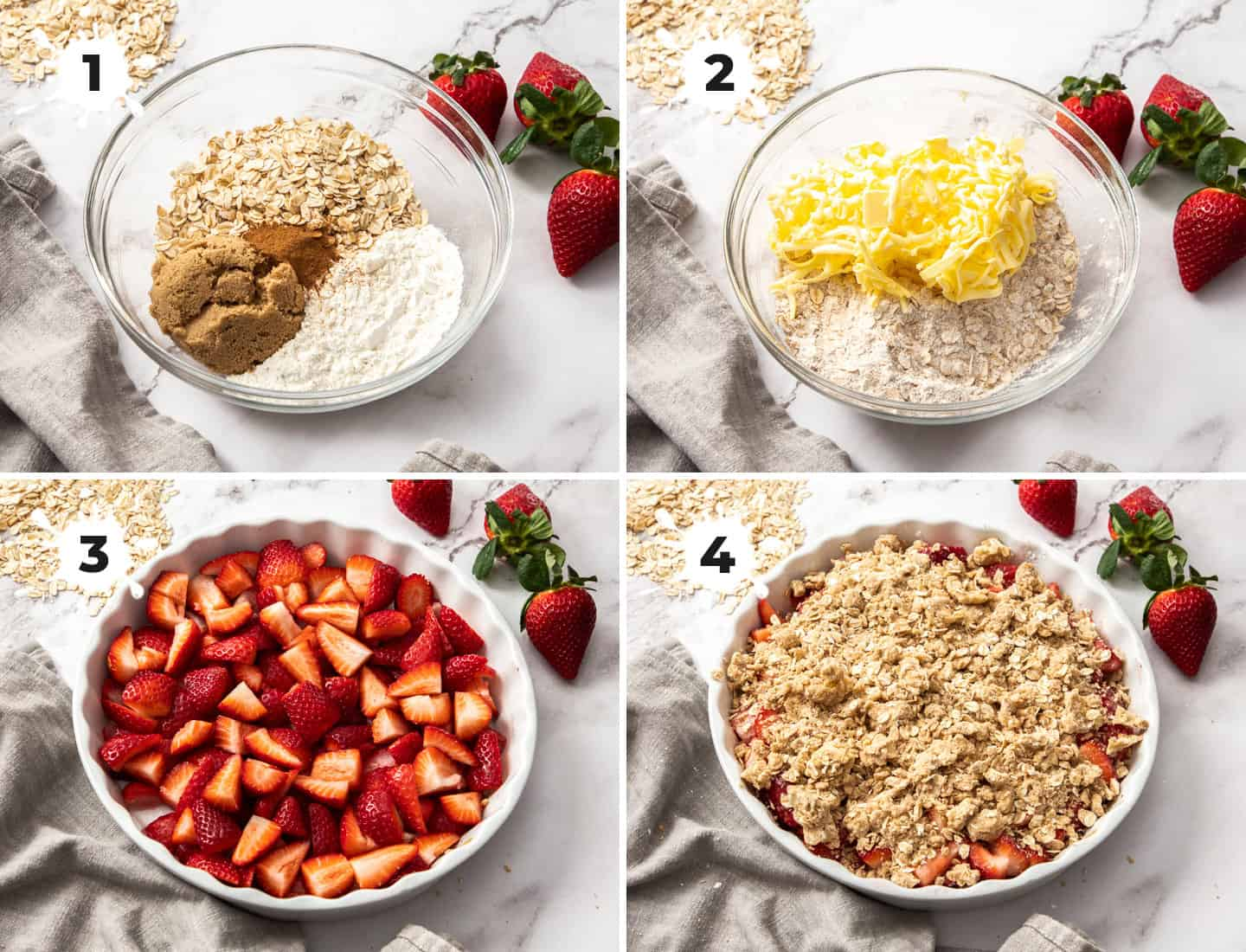 A collage of 4 images showing how to make strawberry crisp.