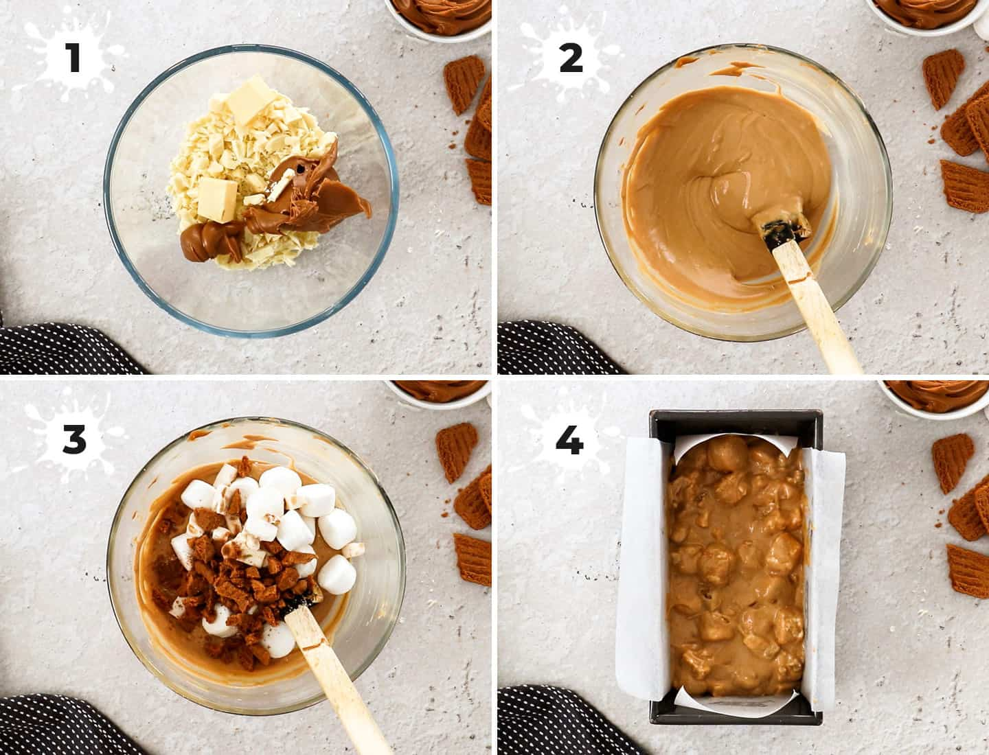 A collage of 4 images showing how to make biscoff rocky road.