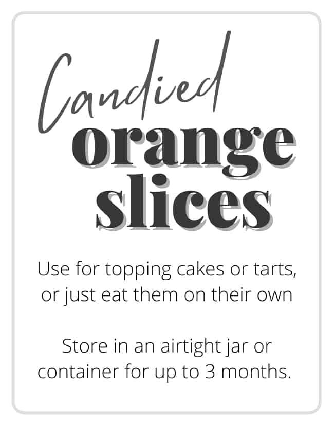 A gift tag that says Candied orange slices.