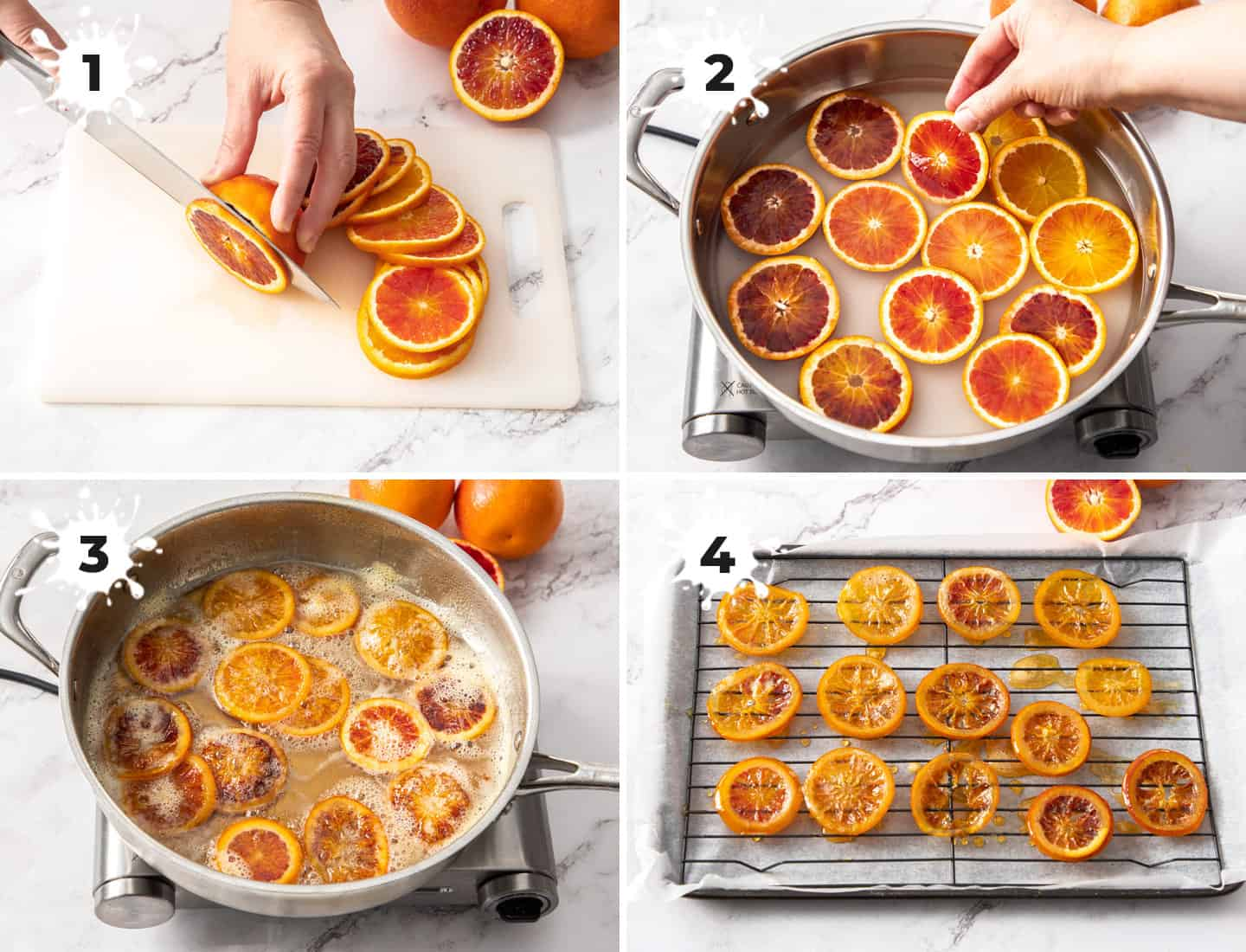 A collage of 4 images showing how to make candied oranges.