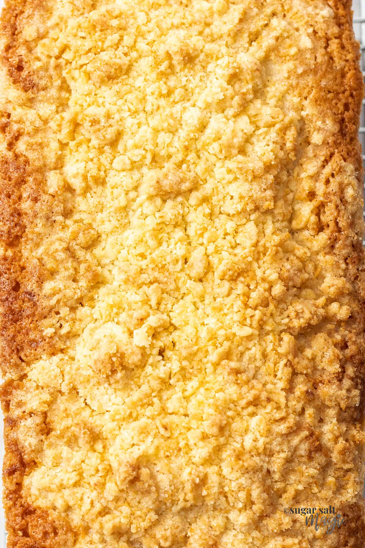 Extreme closeup of the coconut crumble topping
