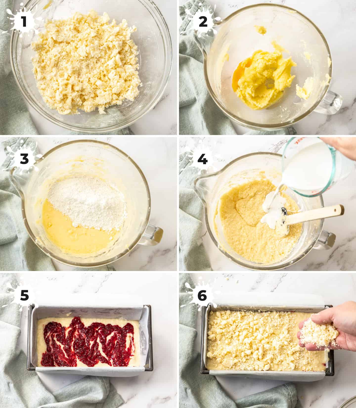 A collage of 6 images showing the steps to making the cake.