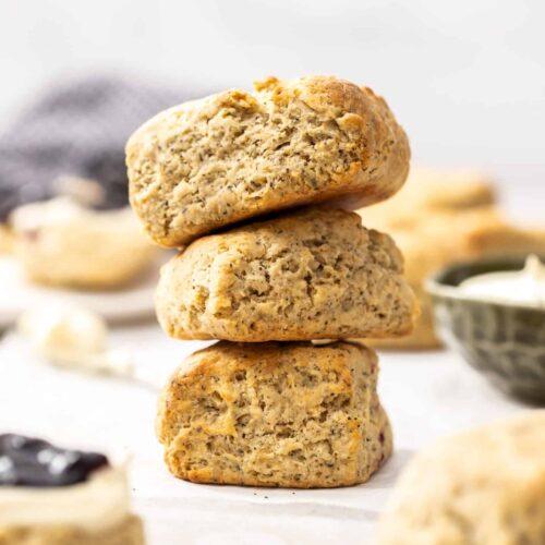 A stack of 3 earl grey scones.