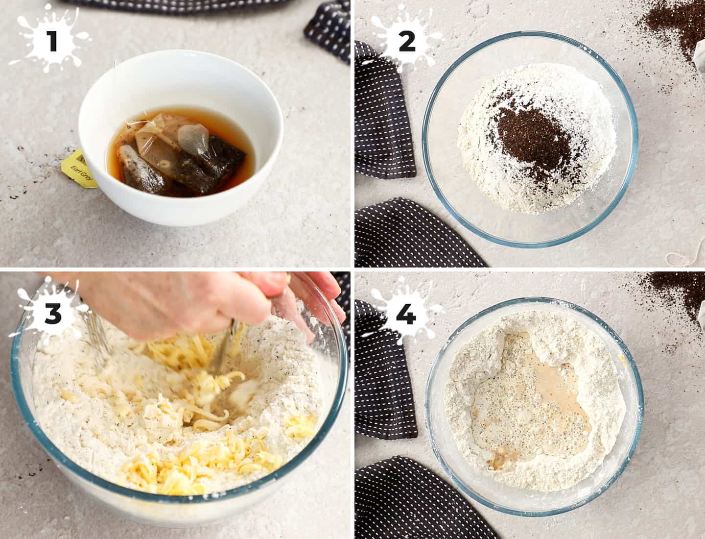 A collage of 4 images showing how to combine the scone dough.