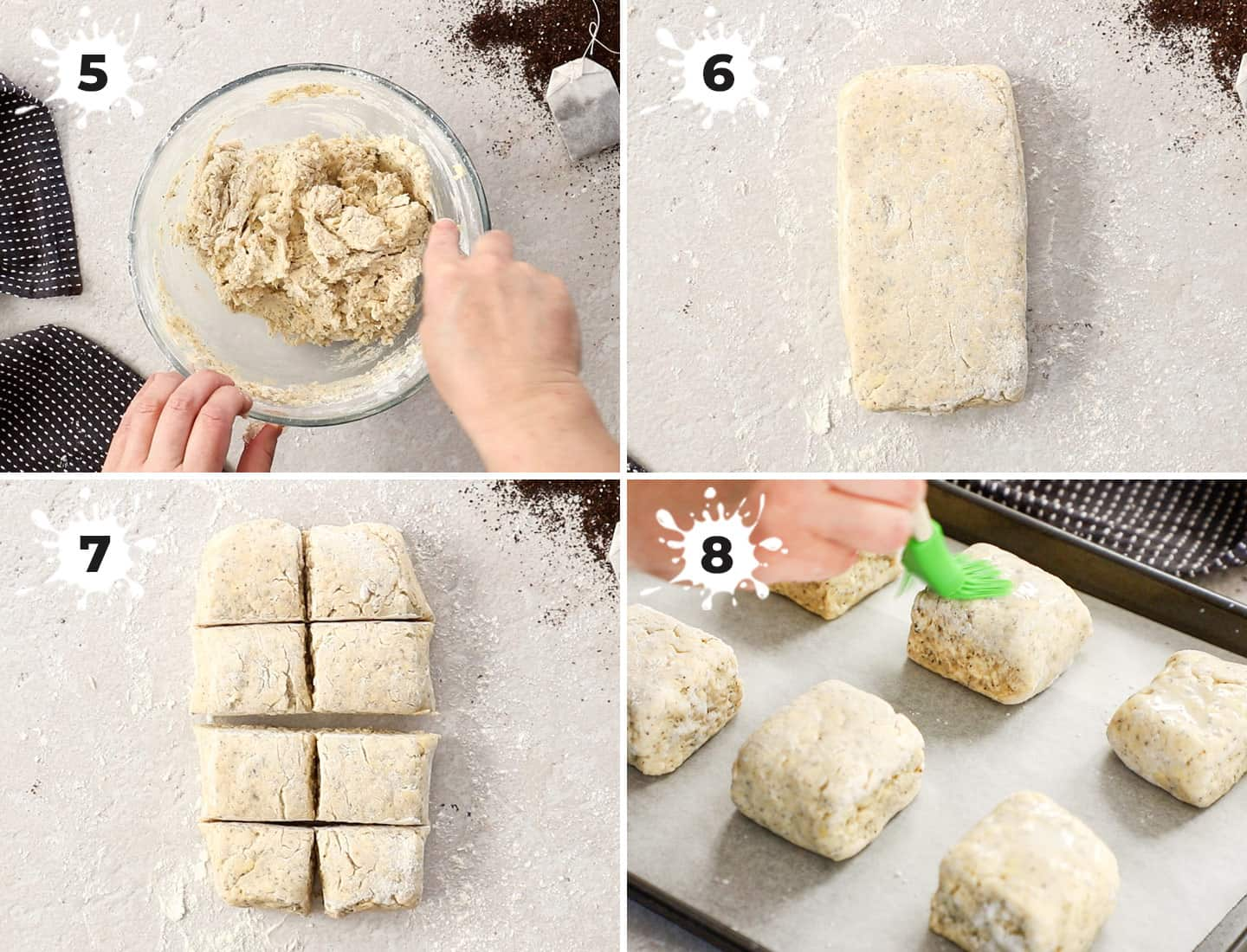 A collage of 4 images showing how to shape the scones.