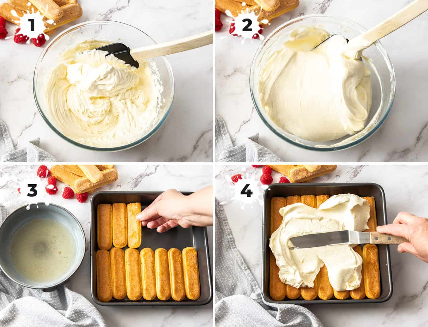 A collage of 4 images showing the cream mixture for tiramisu.
