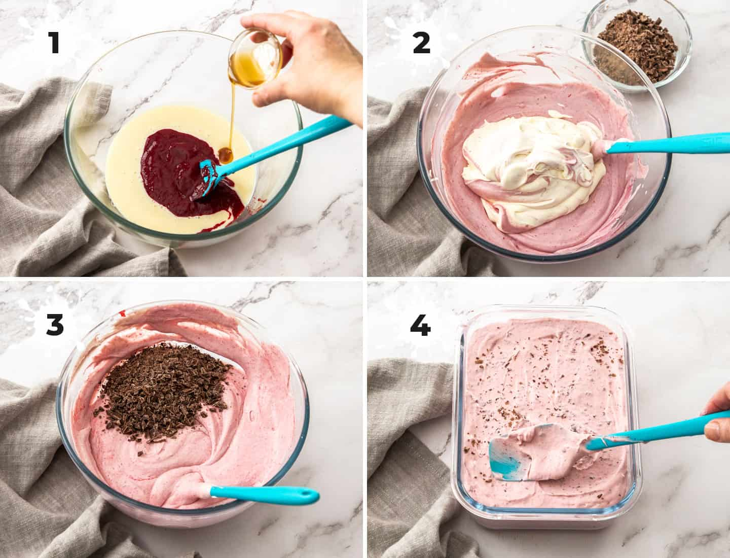 A collage of 4 images showing how to make the no churn raspberry ice cream.