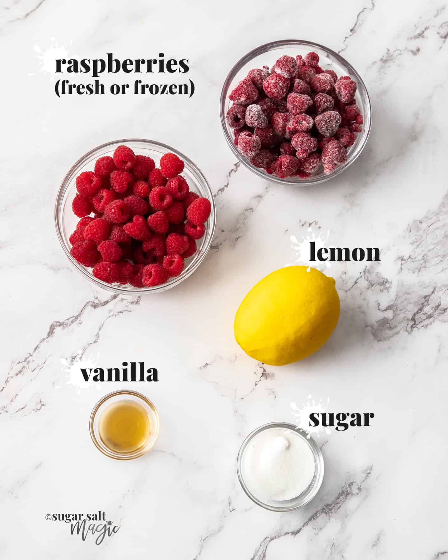 Ingredients for raspberry compote on a marble worktop.