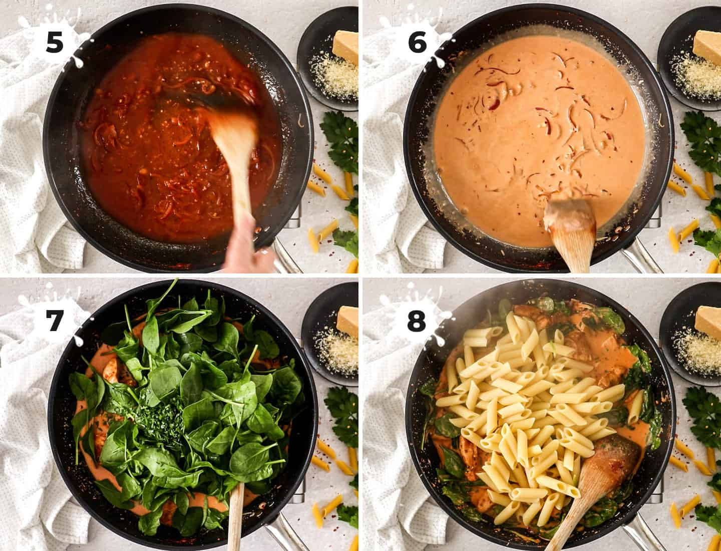 A collage of 4 images showing how to make the sauce for the chicken pasta.