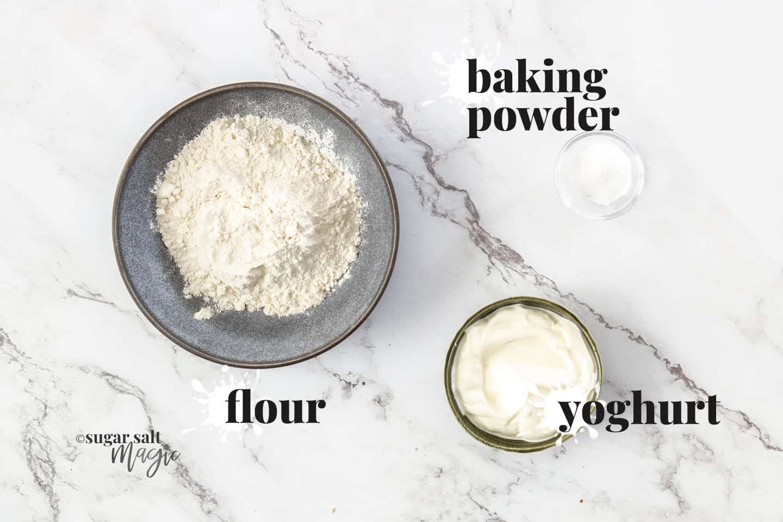 Ingredients for 3 ingredient flatbreads.