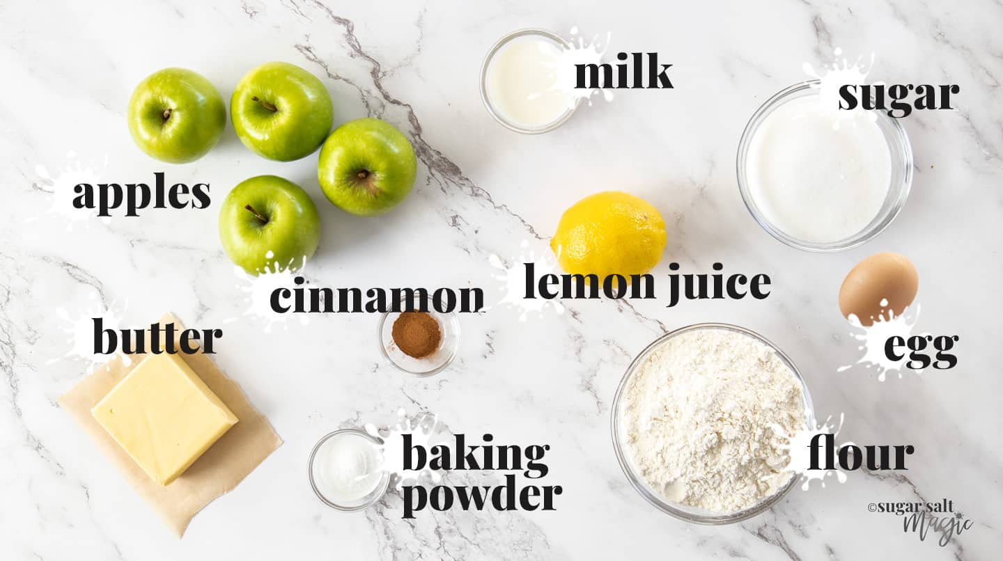 Ingredients for apple shortcake on a marble bench top.