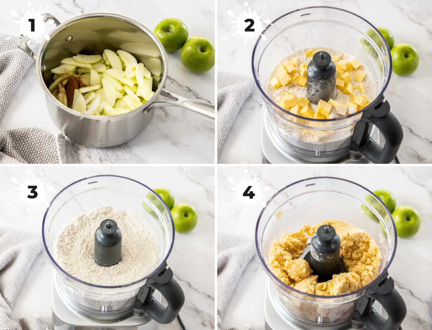 A collage of 4 images showing how to prep the apples and the dough.
